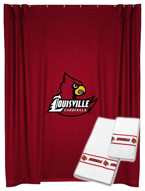 NCAA Louisville Shower Curtain Bath Towel Set College Bath shower-curtains