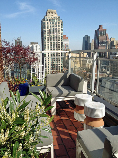 nyc terrace deck roof garden balcony container plants outdoor seating stool