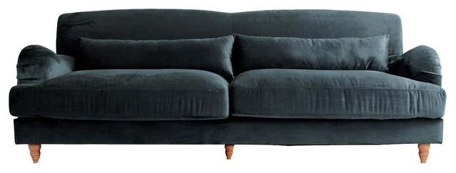 Pomer Traditional Sofa Petrol Blue Contemporary Sofas By
