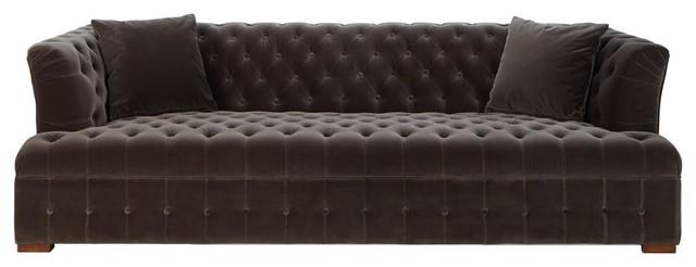 Alexis Brown Velvet Tufted Sofa