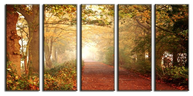 Framed Huge Canvas Print 5 Panel Forest Pathway Leaves