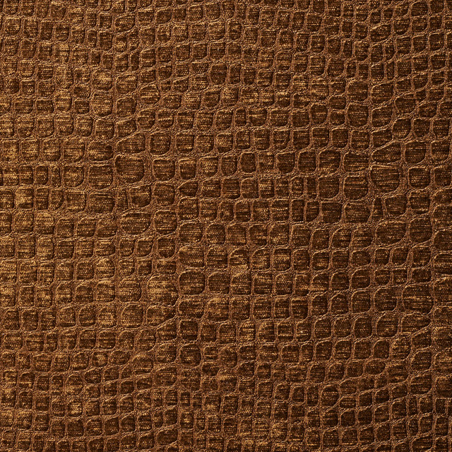 Brown Alligator Print Shiny Woven Velvet Upholstery Fabric By The Yard
