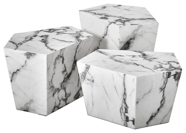 White Marble Coffee Table Set Eichholtz Prudential