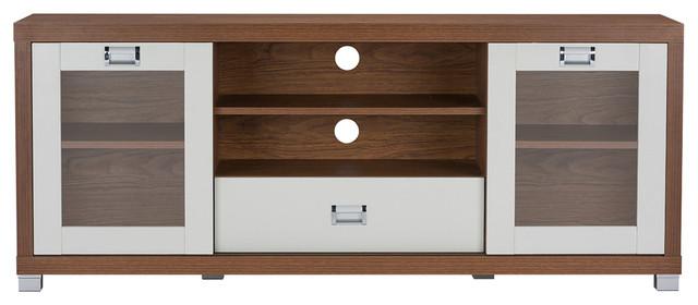 Matlock Modern 2 Tone Walnut And White Tv Stand With Glass Doors