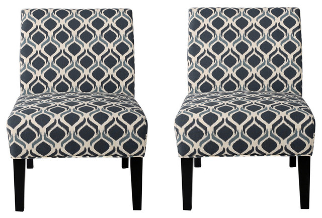Kendal Blue Navy Fabric Accent Chair Set Of 2 Transitional