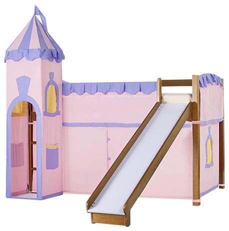 Twin Size Low Loft Bed, Pecan, Princess Castle