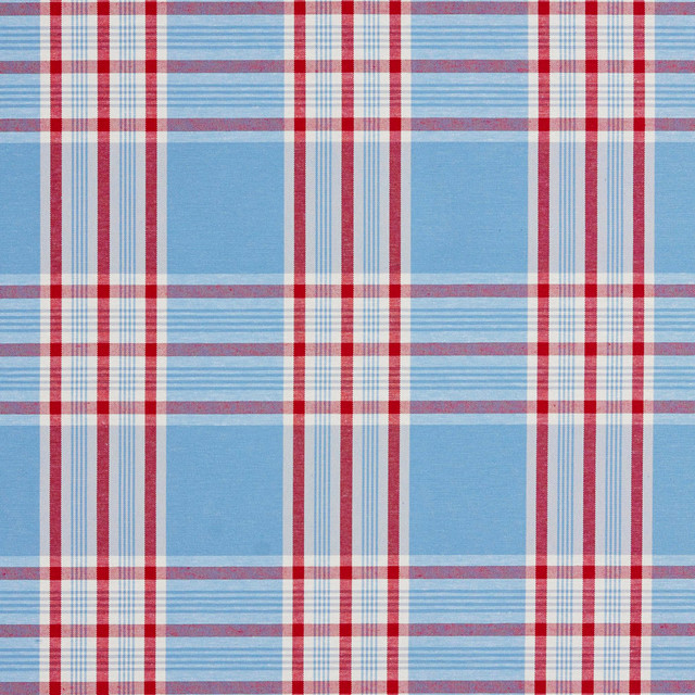 Burgundy White and Blue Plaid Denim Upholstery Fabric by