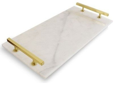 Carrara Marble Serving Tray With Brass Gold Handles