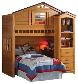 Shop Houzz | Adarn Rustic Oak Tree House Twin Bunk, Loft Bed, W/Desk - Bunk Beds