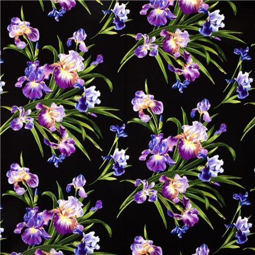 Michael Miller fabric with big iris flower