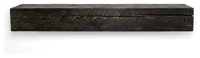 Solid Timber Fireplace Mantel Shelf, Midnight Black, 60.