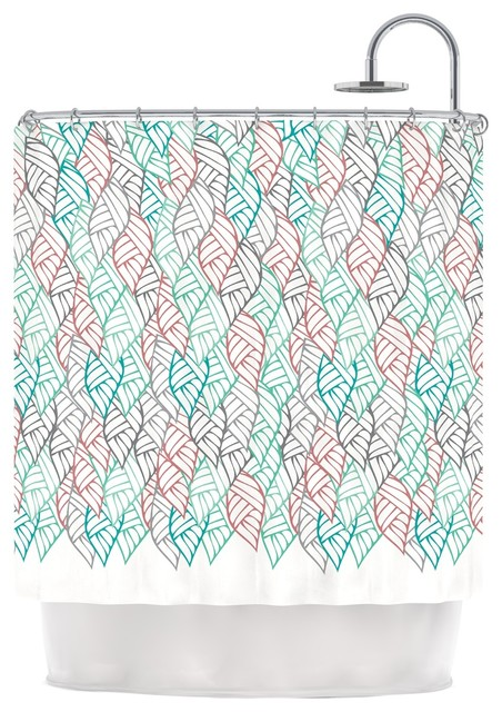 Pom Graphic Design Ethnic Leaves Teal Red Shower Curtain