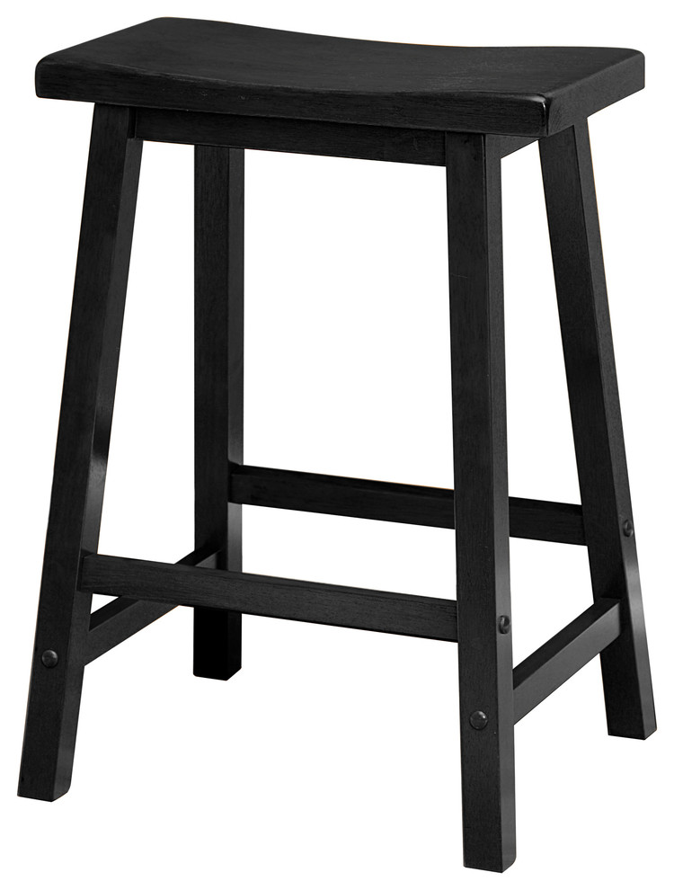 Admirable Winsome Wood 24 Black Saddle Seat Bar Stool Cjindustries Chair Design For Home Cjindustriesco