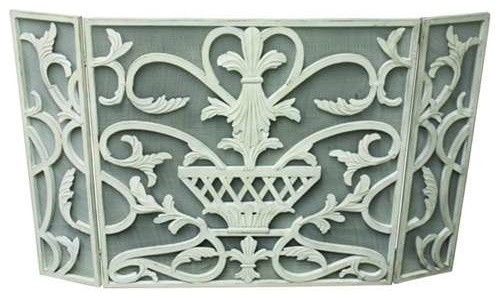 Iron Three Panel Fire Screen By Dr. Livingstone, Antique White