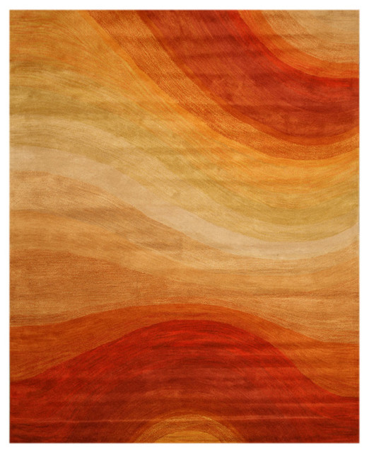 Eorc Hand Tufted Wool Orange Contemporary Abstract
