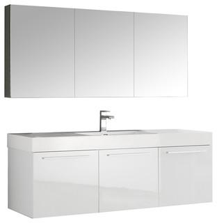 Fresca Vista Wall Hung Modern Bathroom Vanity With Medicine Cabinet - Contemporary - Bathroom ...