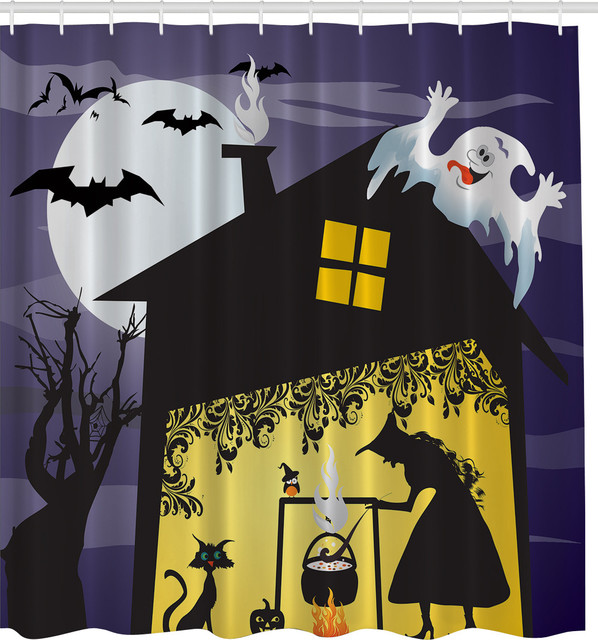 Witchs Brew Halloween Fabric Shower Curtain