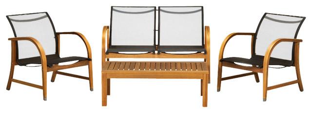 Manhattan 4 Piece Patio Deep Seating Set, Eucalyptus Wood