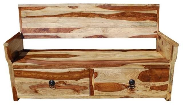 Solid Wood Sofa Bench W Storage Drawers
