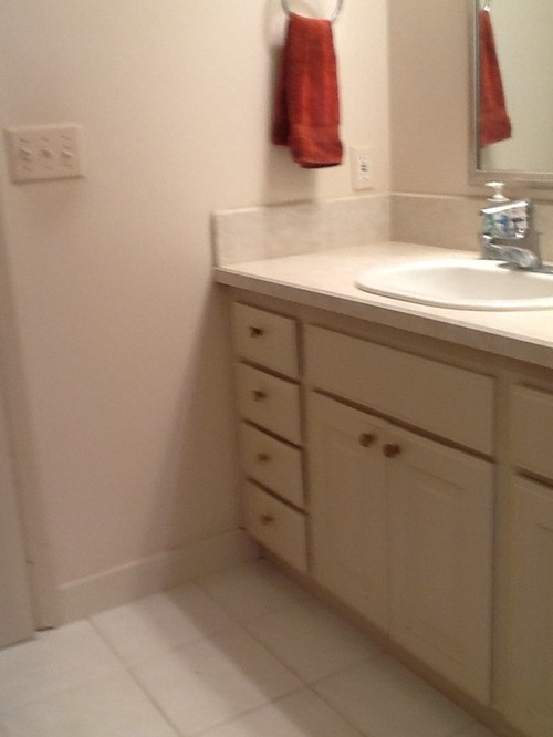 Painting Plastic Bathroom Cabinets ugly bathroom needs makeover!!