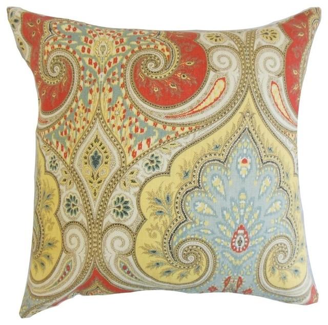 "Kirrily Damask Pillow, Festival, 24""x24""."