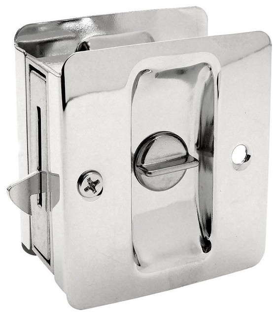 Sliding Pocket Door Bathroom Privacy Lock Set Polished Chrome Polished Chrome