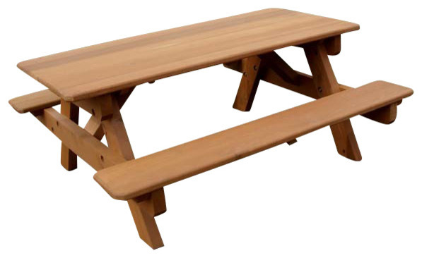Swell 8 Red Cedar Heavy Duty Picnic Table With Attached Benches Ibusinesslaw Wood Chair Design Ideas Ibusinesslaworg