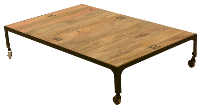Industrial fusion solid wood iron rustic rolling cart coffee table industrial coffee Rustic iron coffee table
