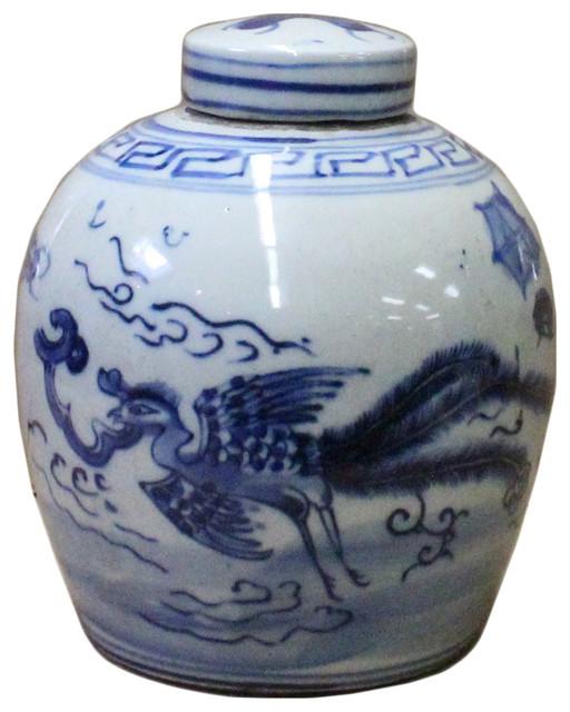 Chinese Oriental Small Blue White Porcelain Ginger Jar Hcs3776