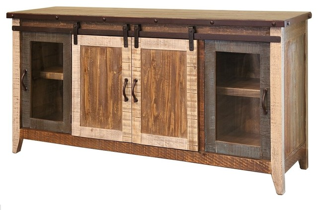 Madeline Antique Style Multicolor Rustic Sliding Barn Door Tv Stand