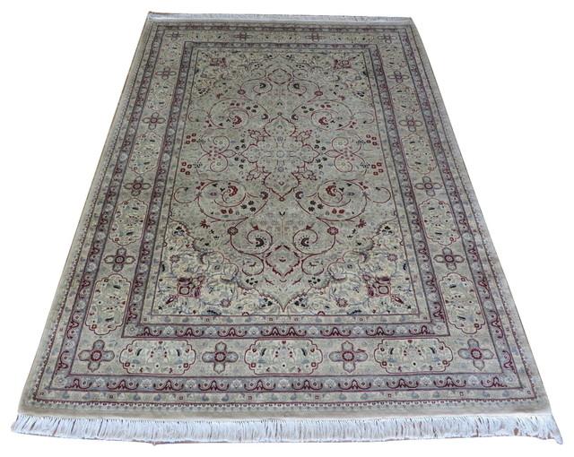 6x8 9 Handmade Beige Pak Persian Fine Kashen Oriental Rug