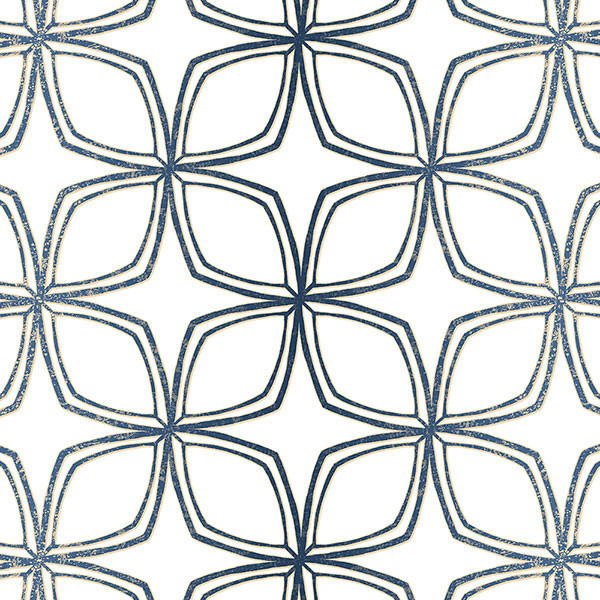 Modern Star Geometric Wallpaper Navy Blue And White With Gold Speckles 1 Bolt
