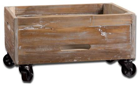 """Reclaimed Fir Wood Box, Light Gray Wash, 24""""x16""""."""