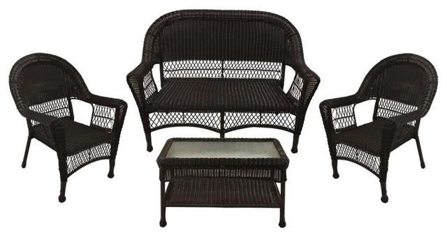 4 Piece Resin Wicker Patio Furniture, Polyethylene Wicker Patio Furniture