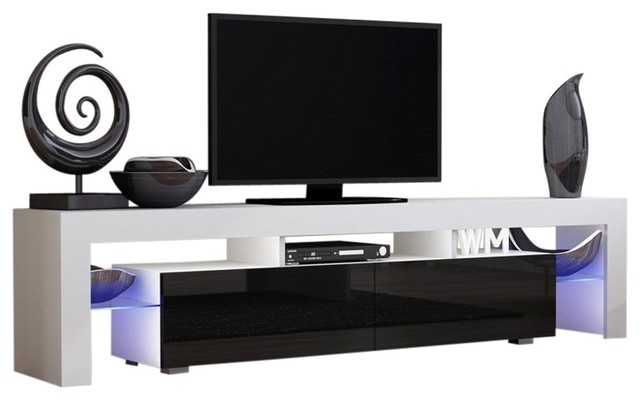 Tv Stand Milano 200 Modern 90 Led White Black