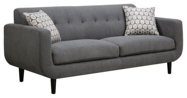 Coaster Stansall Upholstered Modern Sofa in Gray - Midcentury ...
