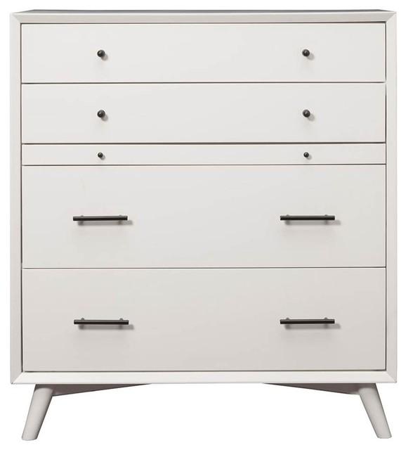 4drawer Mid Century Modern Chest White Finish Midcentury Dressers
