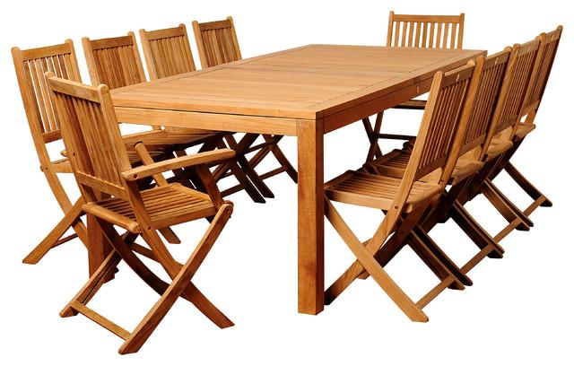 Blair 11-Piece Teak Rectangular Patio Dining Set.
