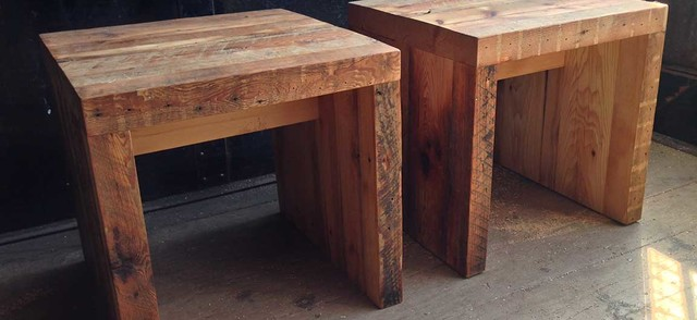 KERF SIDES [RECLAIMED BARN BOARD SIDE TABLES] Rustic Side Tables And