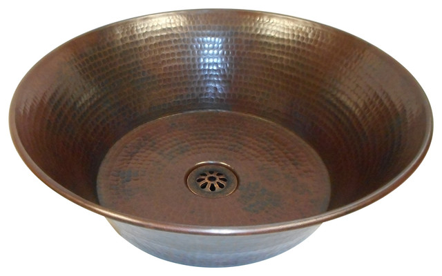 "15"" Rustic Round Miners Pan (CAZO) Copper Vessel Bath Sink with Daisy Drain"