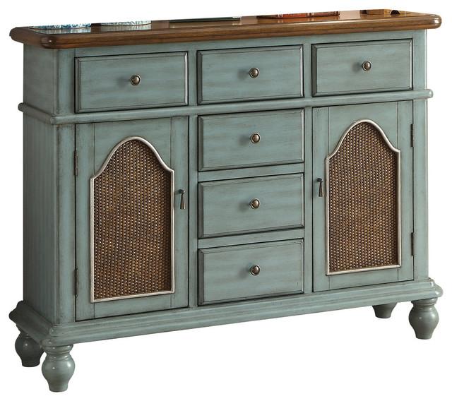 Acme Telissa Console Table, Antique Blue And Oak.