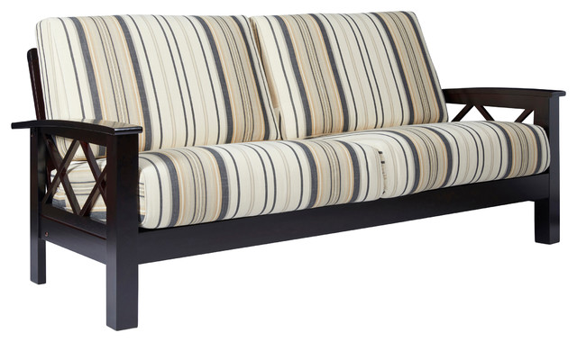 riverwood x design sofa with exposed wood frame brown black stripe contemporary sofas - Exposed Wood Frame Sofa