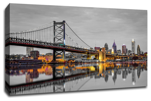 """Philadelphia, Touch Of Color Skylines, 60""""x40"""" Canvas Wall Art. -1"""