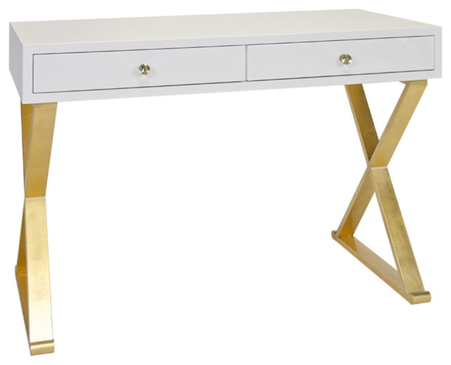 Worlds Away Two Drawer Desk With Quot X Quot Legs Contemporary