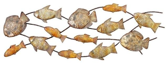 Metal Fish Wall Decor coastal living metal fish wall decor, gold, silver - beach style