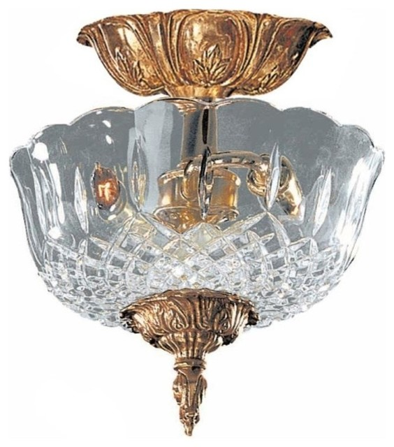 Crystorama Richmond 2 Light Olde Brass Lead Crystal Semi-Flush Ii.