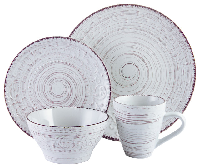 Elama Malibu Waves 16-Piece Dinnerware Set Shell  sc 1 st  Houzz & Elama Malibu Waves 16-Piece Dinnerware Set - Beach Style ...