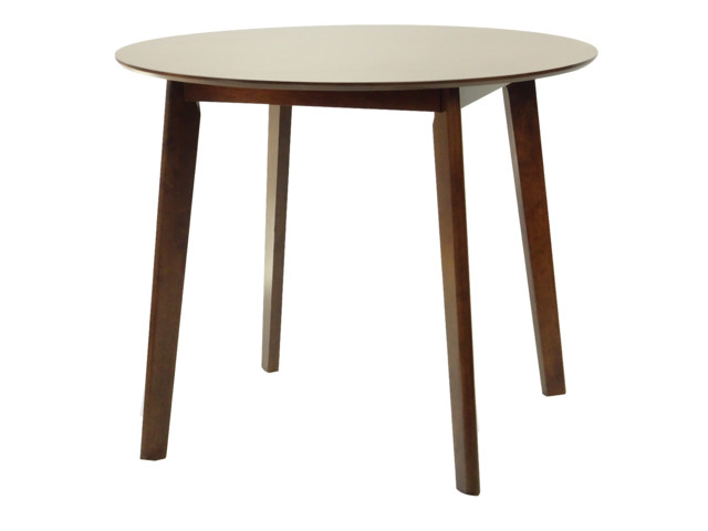 Modern Wood Dining Table, Medium Brown Finish, Mandy Round.