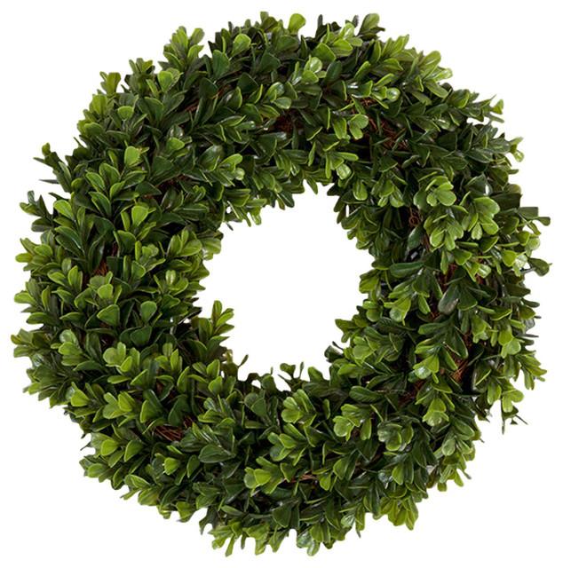 Pure Garden Boxwood Wreath, 14 Inch Round.