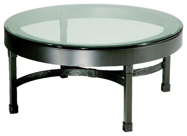 Cedarvale Iron Coffee Table w Beveled Glass Top (Hand Rubbed Brass)
